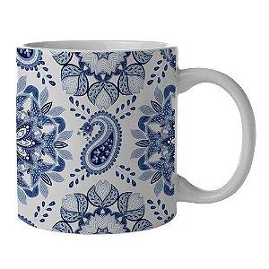 Caneca de Porcelana Branca e Azul New Indigo Mandala - 300 ml