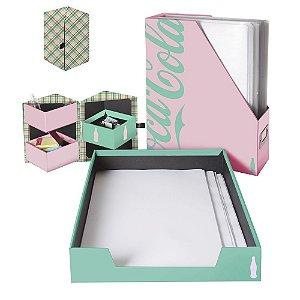 Conjunto para Escritório Coca-Cola Paper Contemporary Green and Pink - 3 Peças