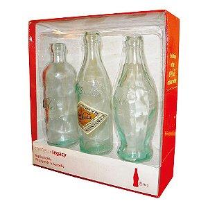 Objetos Decorativos Garrafas Coca-Cola Evolução - 3 Peças