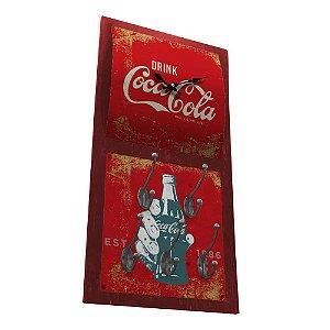 Relógio de Parede Decorativo com 5 Ganchos Coca-Cola Hand Bottle - 60 x 30 cm