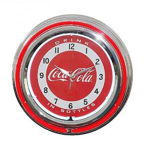 Relógio de Parede Decorativo Coca-Cola Double Neon - 38 cm
