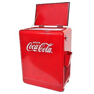 Cooler de Metal de Chão com Abertura Lateral Coca-Cola Vermelho - 51 Litros