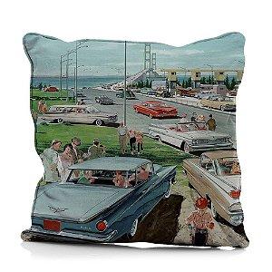 Capa para Almofada em Poliéster GM Vintage Cars in a City - 45 cm