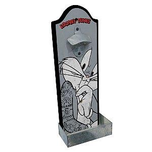 Abridor de Garrafas com Suporte para Parede em Madeira Looney Tunes Pernalonga - 36 cm