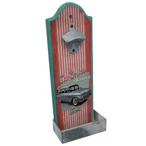 Abridor de Garrafas com Suporte para Parede em Madeira GM Vintage Car Service - 36 cm