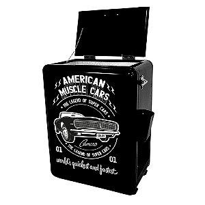 Cooler de Metal de Chão com Abertura Lateral GM Vintage American Muscle Cars Preto - 51 Litros