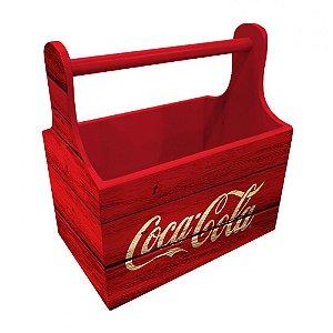 Porta Garrafas / Latas de Madeira com Alça Coca-Cola Six Pack Wood Style - 21 cm