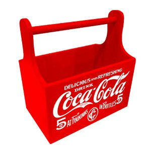 Porta Garrafas / Latas de Madeira com Alça Coca-Cola Six Pack 5 Cents - 21 cm