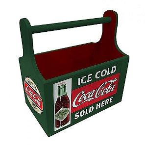 Porta Garrafas / Latas de Madeira com Alça Coca-Cola Six Pack Green Vintage - 21 cm