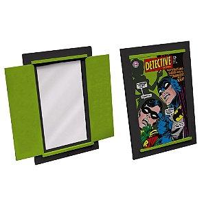 Espelho Decorativo Retangular em Madeira e Porta DC Comics Batman and Robin Cover Page - 37 x 52 cm