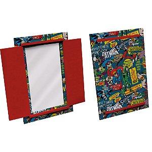 Espelho Decorativo Retangular em Madeira com Porta DC Comics Super Heroes - 37 x 52 cm
