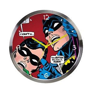 Relógio de Parede Decorativo de Metal DC Comics Batman and Robin - 30 cm