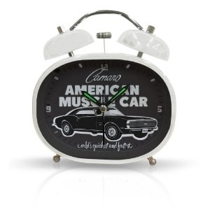 Relógio Decorativo Despertador de Metal GM Vintage American Muscle Car - 10 x 12 cm