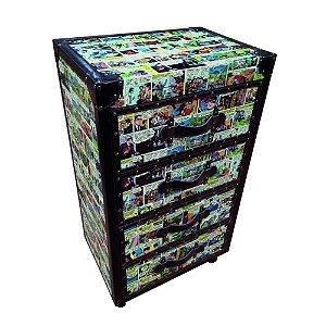 Gabinete Decorativo de Madeira com 4 Gavetas DC Comics Quadrinhos Coloridos - 88 x 50 cm