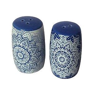 Conjunto de Saleiro e Pimenteiro de Cerâmica Indigo Azul / Branco - 2 Peças