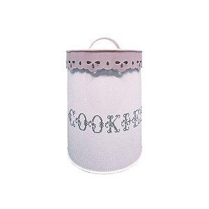 Pote em Metal com Alça na Tampa Cookies Delicate Lace Cover Rosa / Branco - 18 cm