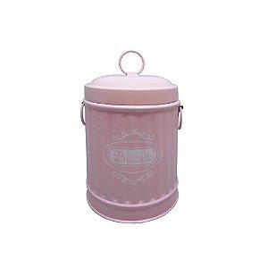Pote em Metal formato Lixeira com Tampa e Alças Laterais Biscuits Rosa / Branco - 16 cm