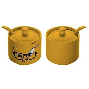 Açucareiro de Cerâmica Looney Tunes Piu-Piu Amarelo - 10 cm