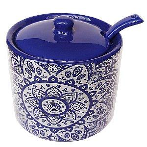 Açucareiro de Cerâmica Indigo Azul / Branco - 10 cm