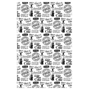 Pano de Prato de Algodão Coca-Cola All Logos Black and White - 70 x 45 cm