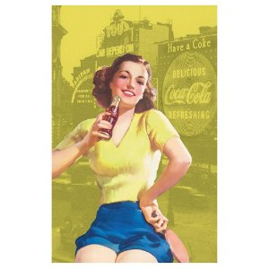 Pano de Prato de Algodão Coca-Cola Pin Up Brown Lady - 70 x 45 cm