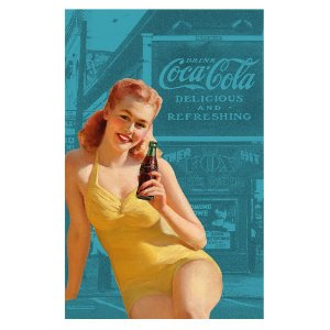 Pano de Prato de Algodão Coca-Cola Pin Up Yellow Bathing Suit - 70 x 45 cm