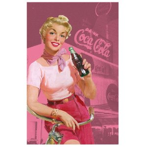 Pano de Prato de Algodão Coca-Cola Pin Up Blonde Lady with a Bike - 70 x 45 cm