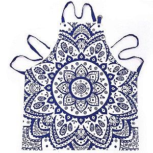 Avental de Algodão Indigo Hanna Flower Azul / Branco - 80 cm