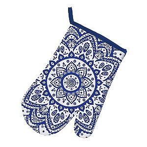 Luva para Cozinha de Algodão Indigo Flower Azul / Branco - 29 cm