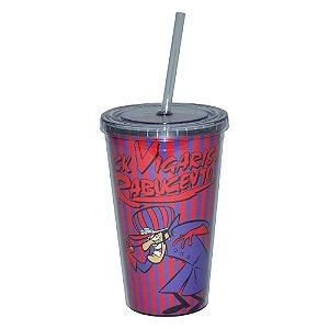 Copo de Plástico com Tampa e Canudo Hanna Barbera Corrida Maluca Dick Vigarista - 500 ml