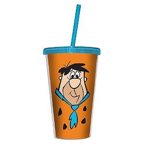 Copo de Plástico com Tampa e Canudo Hanna Barbera Os Flintstones Fred - 500 ml