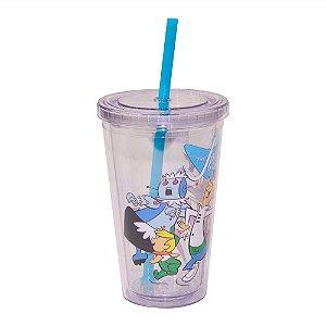 Copo de Plástico com Tampa e Canudo Hanna Barbera Os Jetsons Família - 500 ml