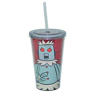 Copo de Plástico com Tampa e Canudo Hanna Barbera Os Jetsons Robô Rosie - 500 ml