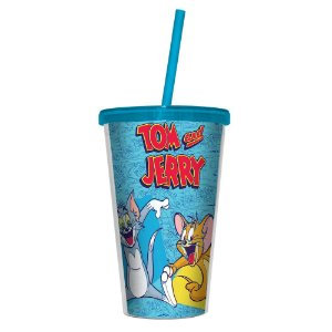 Copo de Plástico com Tampa e Canudo Hanna Barbera Tom and Jerry - 500 ml