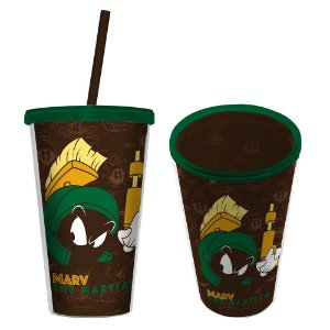 Copo de Plástico com Tampa e Canudo Looney Tunes Marvin, o Marciano - 500 ml