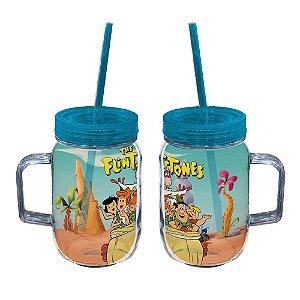 Copo de Acrílico tipo Mason Jars com Canudo Hanna Barbera Os Flintstones Passeio em Família - 550 ml