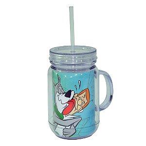 Copo de Acrílico tipo Mason Jars com Canudo Hanna Barbera Os Jetsons Astro e George - 550 ml