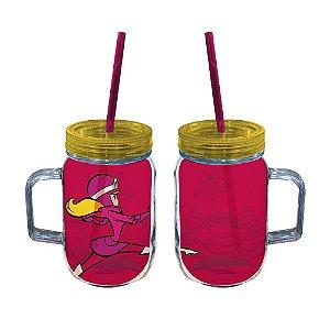 Copo de Acrílico tipo Mason Jars com Canudo Hanna Barbera Corrida Maluca Penélope Charmosa - 550 ml