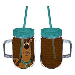 Copo de Acrílico tipo Mason Jars com Canudo Hanna Barbera Scooby-Doo - 550 ml