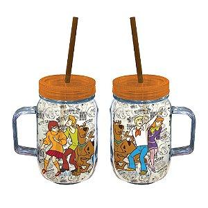 Copo de Acrílico tipo Mason Jars com Canudo Hanna Barbera Scooby-Doo e sua Turma - 550 ml