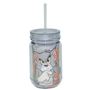 Copo de Acrílico tipo Mason Jars com Canudo Hanna Barbera Tom and Jerry Mad Cat - 550 ml