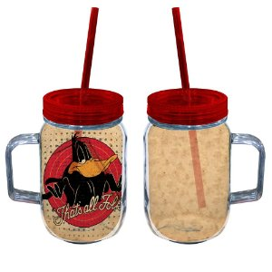 Copo de Acrílico tipo Mason Jars com Canudo Looney Tunes Patolino That's All Folks - 550 ml