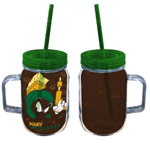 Copo de Acrílico tipo Mason Jars com Canudo Looney Tunes Marvin, o Marciano - 550 ml