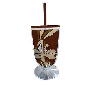 Copo / Taça de Acrílico com Canudo Looney Tunes Coiote - 550 ml