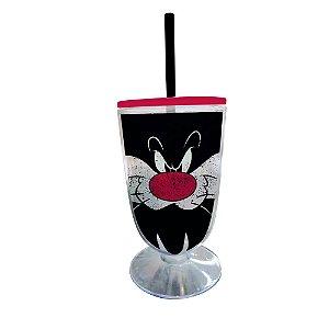 Copo / Taça de Acrílico com Canudo Looney Tunes Frajola - 550 ml