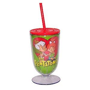 Copo / Taça de Acrílico com Canudo Hanna Barbera Os Flintstones Pedrita e Bambam - 550 ml
