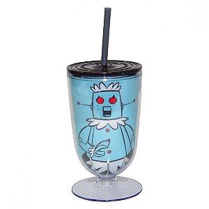 Copo / Taça de Acrílico com Canudo Hanna Barbera Os Jetsons Robô Rosie - 550 ml