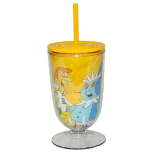 Copo / Taça de Acrílico com Canudo Hanna Barbera Os Jetsons Família - 550 ml