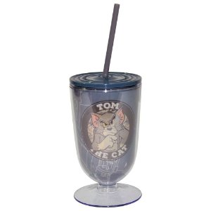 Copo / Taça de Acrílico com Canudo Hanna Barbera Tom and Jerry Mad Cat - 550 ml