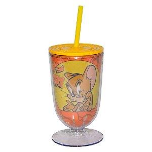 Copo / Taça de Acrílico com Canudo Hanna Barbera Tom and Jerry What Happened? - 550 ml